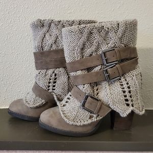 Belted Sweater Ankle Boots